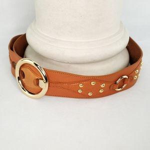 MICHAEL KORS Studded Leather Belt, Sz Large